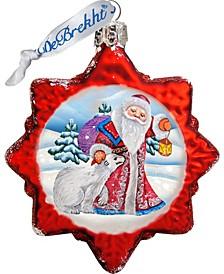 Santa with Polar Bear Glass Ornament