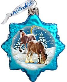 Santa Horse Glass Ornament
