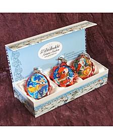 Christmas Night Glass Ornament - Set of 3