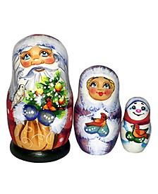 Gift Bag Santa Family 3-Piece Doll Russian Matryoshka Nested Dolls Set