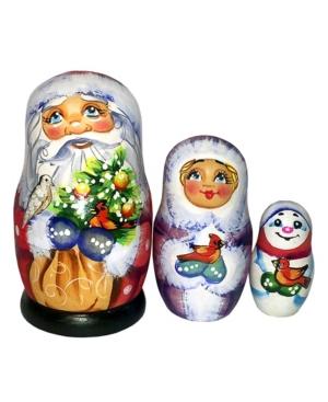 G.DeBrekht Gift Bag Santa Family 3-Piece Doll Russian Matryoshka Nested Dolls Set