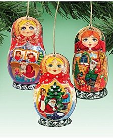 Christmas Dolls Wooden Ornaments, Set of 3