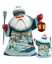 Woodcarved and Hand Painted Nordic Village Santa Figurine