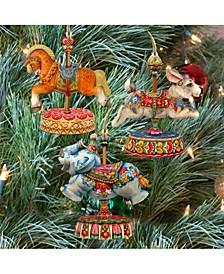 Carousels Horse Bunny Elephant Wooden Ornaments, Set of 3