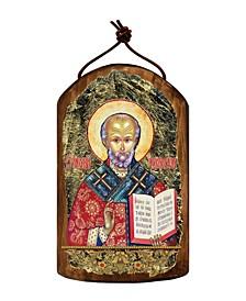 Saint Nicholas Wooden Greek Christian Orthodox Icon Ornament