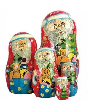 G.DeBrekht 5-Piece Santa Gift Bag Russian Matryoshka Nested Doll Set