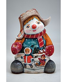 Woodcarved and Hand Painted Santa Snowman Figurine