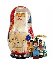 Russian Matryoshka Wooden Polar Bear Santa Ornament Doll Set
