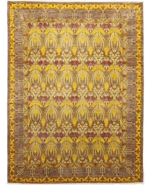 """Timeless Rug Designs CLOSEOUT! One of a Kind OOAK130 Yellow 9'1"""" x 12'2"""" Area Rug"""