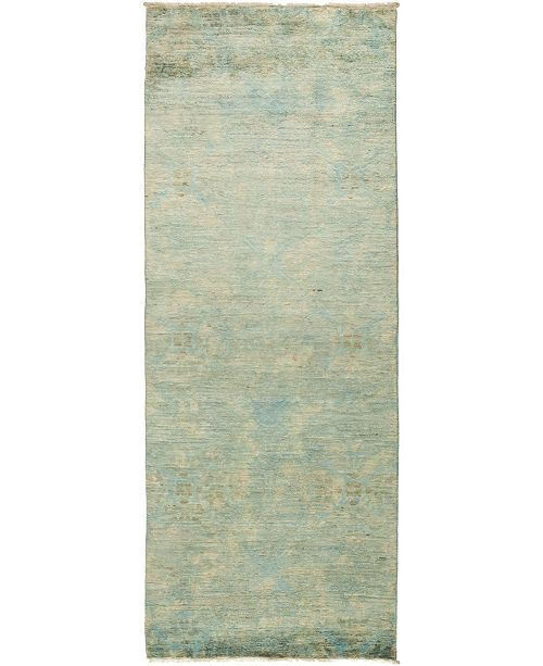 """Timeless Rug Designs CLOSEOUT! One of a Kind OOAK499 Green 3' x 7'10"""" Runner Rug"""