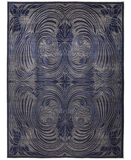 """Timeless Rug Designs CLOSEOUT! One of a Kind OOAK680 Navy 9'3"""" x 12'1"""" Area Rug"""