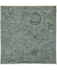 """One of a Kind OOAK8 Silver 4'1"""" x 4'2"""" Area Rug"""