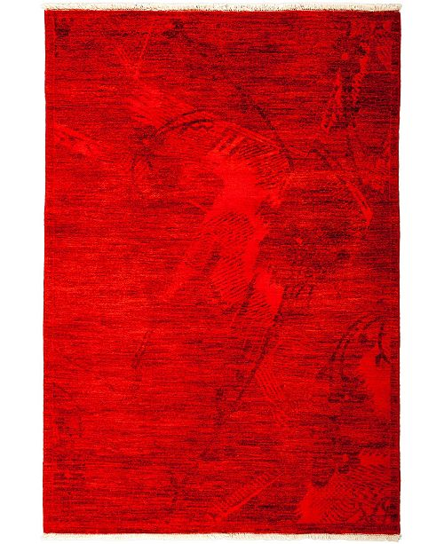 """Timeless Rug Designs CLOSEOUT! One of a Kind OOAK3239 Red 4'1"""" x 5'10"""" Area Rug"""