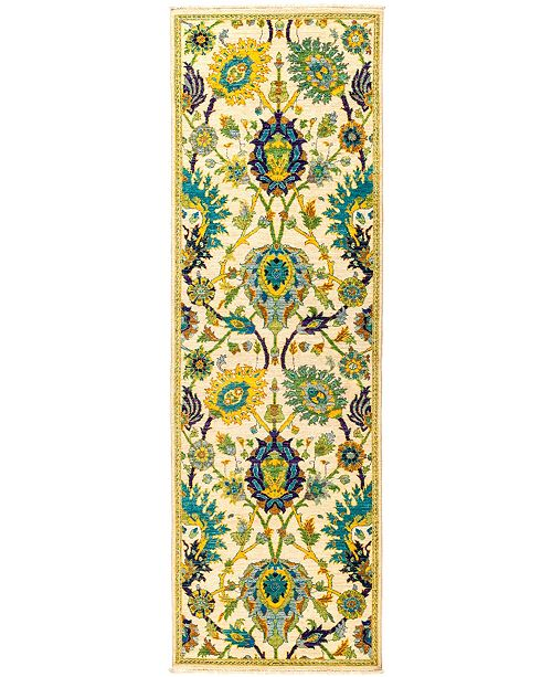 "Timeless Rug Designs CLOSEOUT! One of a Kind OOAK2842 Yellow 2'8"" x 8'4"" Runner Rug"
