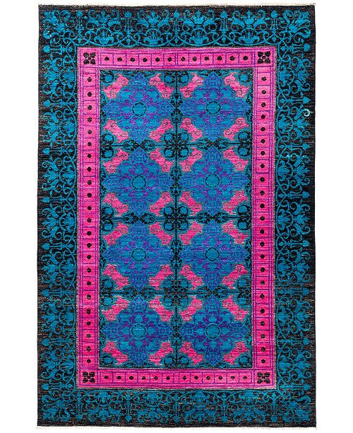 """Timeless Rug Designs CLOSEOUT! One of a Kind OOAK2879 Sapphire 6'3"""" x 9'5"""" Area Rug"""