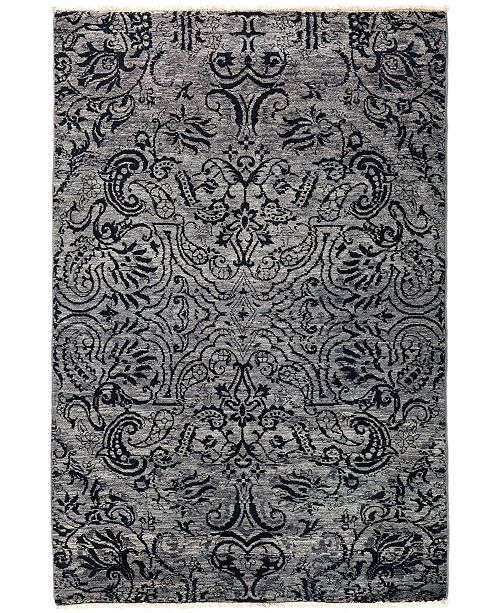 """Timeless Rug Designs CLOSEOUT! One of a Kind OOAK2859 Slate 4'1"""" x 6'1"""" Area Rug"""