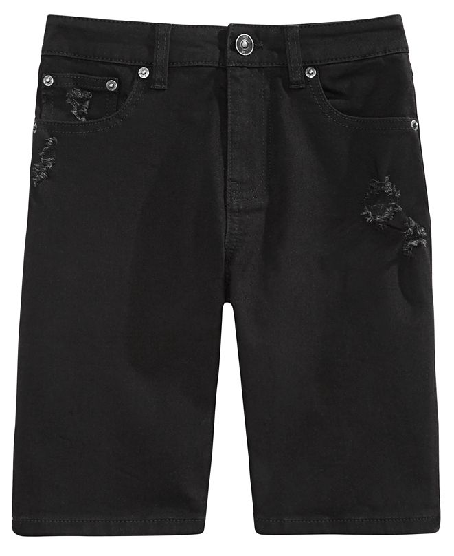 Ring of Fire Big Boys Riot Slim-Fit Stretch Destroyed Denim Shorts, Created for Macy's