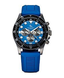 Men's Typhoon Nautical Blue Silicone Sport Performance Timepiece Watch 45mm