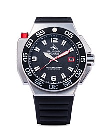 Men's Abisso Professional Divers Black Silicone Performance Timepiece 46mm