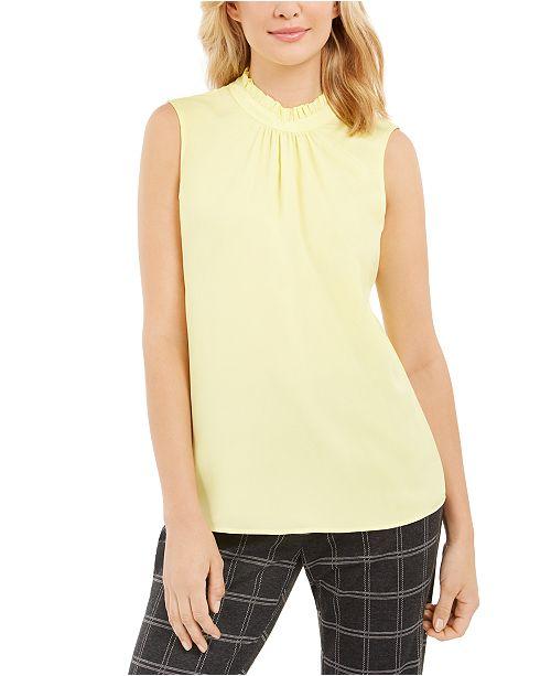 Calvin Klein Sleeveless Ruffle Neck Top