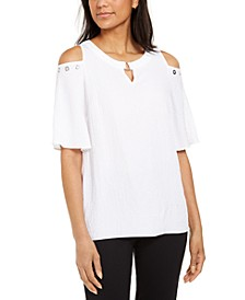Crinkle Texture Cold-Shoulder Blouse, Created for Macy's