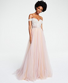 Juniors' Off-The-Shoulder Tulle Gown