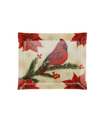 Holiday Wintertime Birds Square Glass Platter