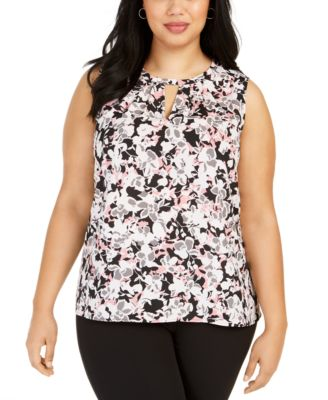 Plus Size Floral-Print Pleated-Neck Keyhole Blouse