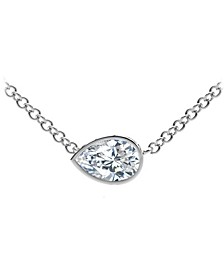 Tribute™ Collection Pear Diamond (1/2 ct. t.w.)  Necklace with Mill-Grain in 18k Yellow, White and Rose Gold