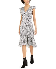 Satin Splatter-Print Midi Dress, Created For Macy's