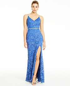 Juniors' Glitter-Lace Slit Gown