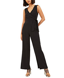 Bar III V-Neck Side-Tie Sleeveless Jumpsuit, Created for Macy's