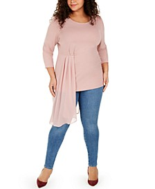 Plus Size Asymmetrical-Overlay Top, Created for Macy's