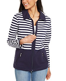 Petite Striped French Terry Jacket, Created for Macy's