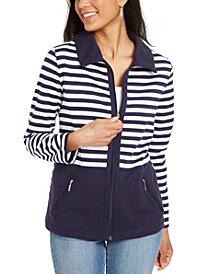 Karen Scott Colorblocked Wing Collar Zip-Front Jacket, In Regular and Petite, Created for Macy's