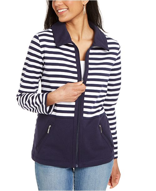 Karen Scott Petite Striped French Terry Jacket, Created for Macy's