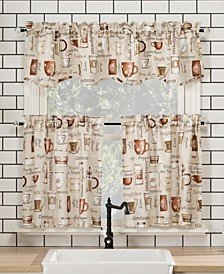 "Bristol Coffee Shop 54"" x 36"" Semi-Sheer Kitchen Curtain Set"