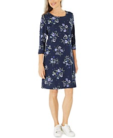 Petite Floral-Print Swing Dress, Created for Macy's