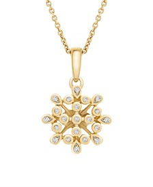 Diamond (1/10 ct. t.w.) Bezel Flower Pendant in 14k Yellow Gold Over Silver