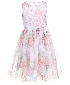 Big Girls Floral-Print Mesh Dress