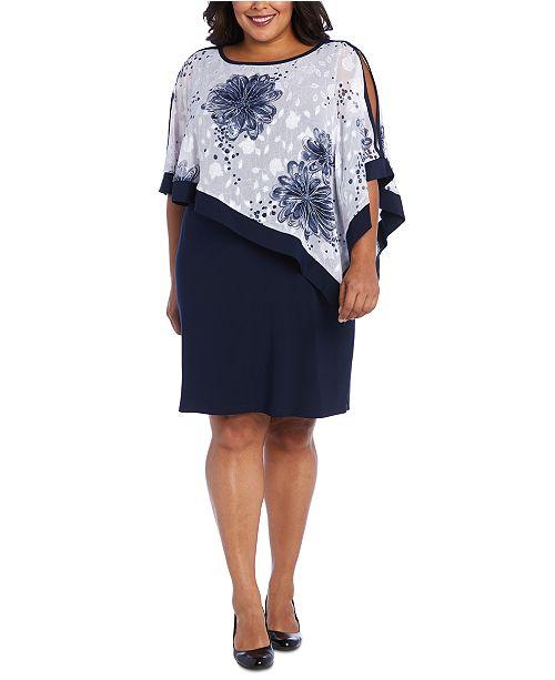 R & M Richards Plus Size Poncho Dress