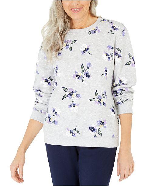 Karen Scott Violet Terrace Printed Fleece Sweatshirt, Created For Macy's