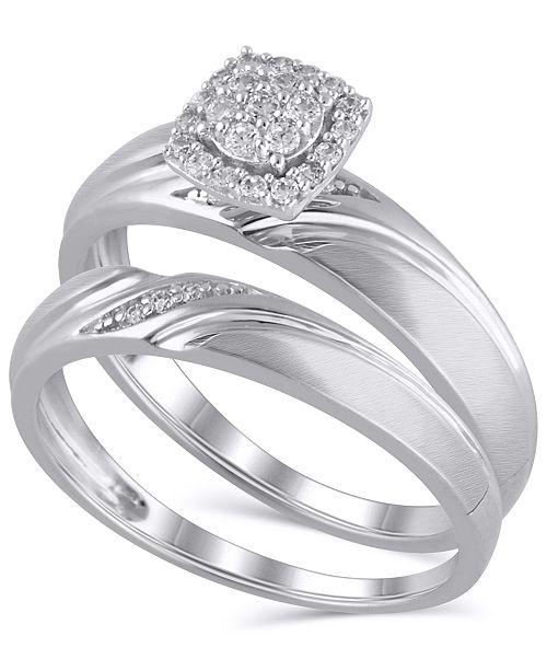 Macy's Certified Diamond (1/6 ct. t.w.) Bridal Set in 14K White Gold
