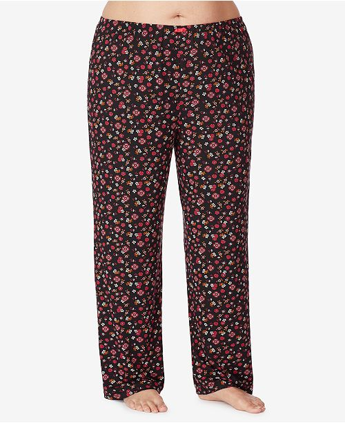 Ellen Tracy Plus Size Floral Knit Pajama Pant, Online Only