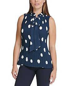 Polka-Dot Pleated Top