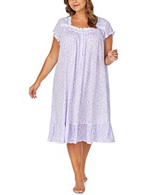 Plus Size Jersey-Knit Floral-Print Venise Lace Waltz Nightgown