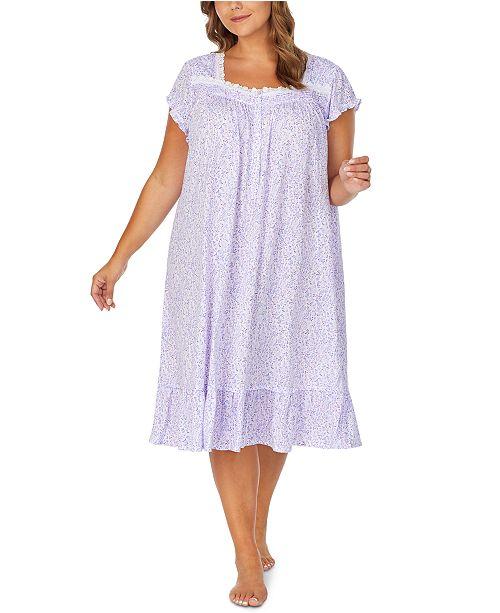 Eileen West Plus Size Jersey-Knit Floral-Print Venise Lace Waltz Nightgown