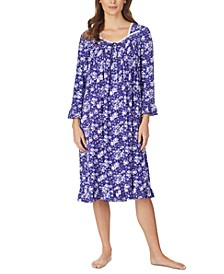 Jersey-Knit Floral-Print Lace-Trim Waltz Nightgown