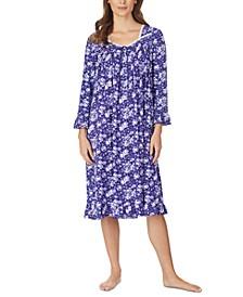 Jersey-Knit Floral-Print Lace-Trim Waltz Nightgown