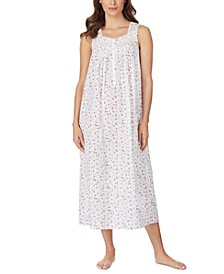 Cotton Floral-Print Venise Lace Ballet Nightgown